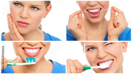 canvas print picture Teeth cure, care and protection. Teeth bleaching.