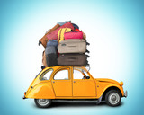 Fototapety Retro car with Luggage on the roof, tourism