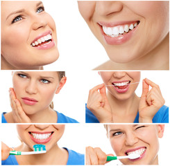 Smiley woman. Teeth whitening. Dental care. Healthy Smile