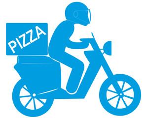 livreur de pizzas à domicile sur scooter