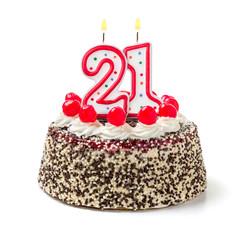 Geburtstagstorte mit brennender Kerze Nummer 21