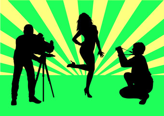 Female model silhouette on photographing