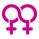 Double female Limitless symbol, vector poster