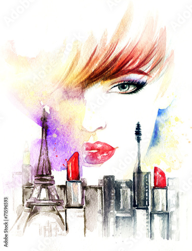 Woman face. Hand painted fashion illustration - 71596593