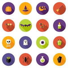 Halloween Colorful Flat Circle Icons Set