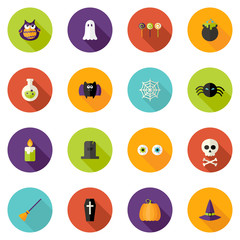 Halloween Flat Circle Icons Set