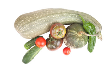 Fresh vegetables assembled from the garden isolated on white bac