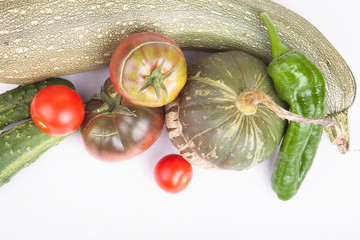 Fresh vegetables assembled from the garden on a bright backgroun