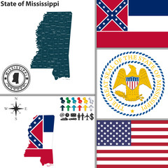 Map of state Mississippi, USA
