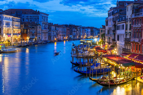 Deurstickers Venetie Night view of Grand Canal with gondolas in Venice. Italy