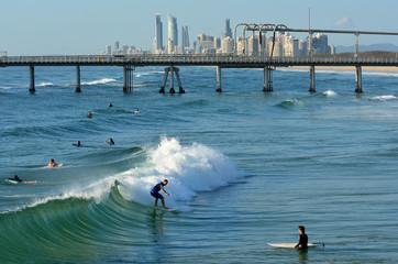 Surfers in Surfers Paradise Queensland Australia