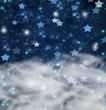 christmas stars on blue   background