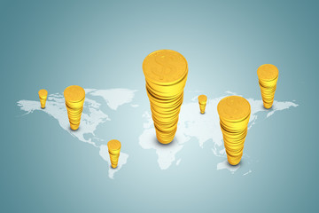Stacks of gold dollars on world map