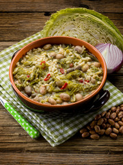 soup with rice savoy cabbage and beans