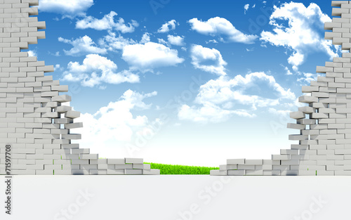 Ruined brick wall and nature landscape - 71597708