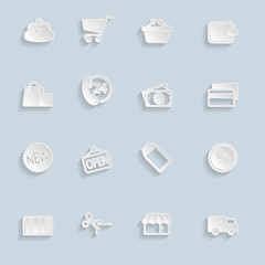 Paper Market Icons Set