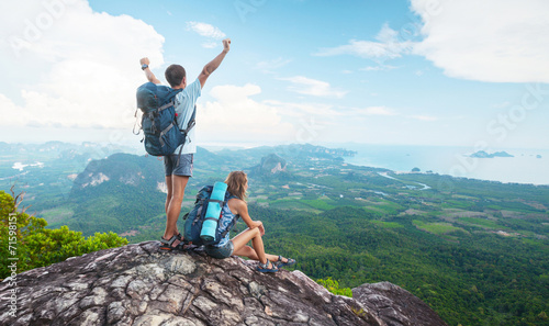 canvas print picture Hikers