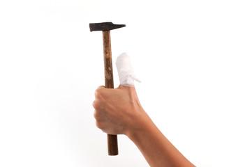 Dito fasciato con martello