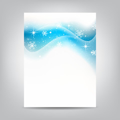 Christmas flyer with stars and snowflakes on a white background