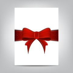 Christmas flyer template, paper banner with red ribbon