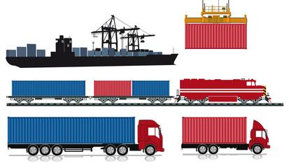 Verladen und verschicken von Containern