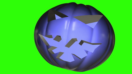 Abstract pumpkin head in dark blue