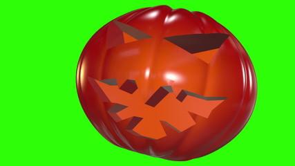 Abstract pumpkin head in dark orange on green screen