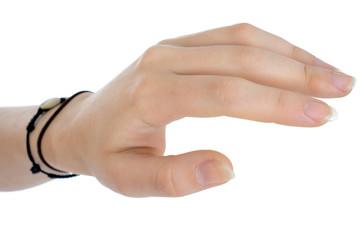 Hand mit Armbändern einer Frau