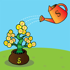watering a money tree