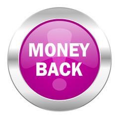 money back violet circle chrome web icon isolated