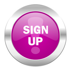 sign up violet circle chrome web icon isolated
