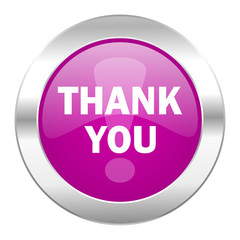 thank you violet circle chrome web icon isolated