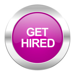 get hired violet circle chrome web icon isolated