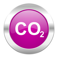 carbon dioxide violet circle chrome web icon isolated