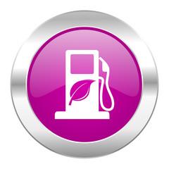 biofuel violet circle chrome web icon isolated