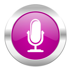 microphone violet circle chrome web icon isolated