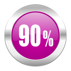 90 percent violet circle chrome web icon isolated