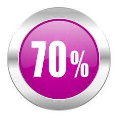 70 percent violet circle chrome web icon isolated