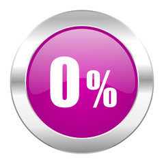 0 percent violet circle chrome web icon isolated