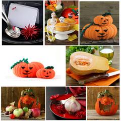 Set Halloween pumpkin, treats and table setting