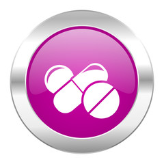 medicine violet circle chrome web icon isolated