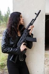 Woman on a battlefield