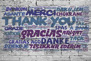 Danke in vielen Sprachen an Wand