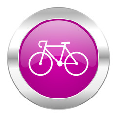 bicycle violet circle chrome web icon isolated