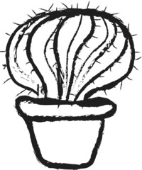 doodle vase of cactus