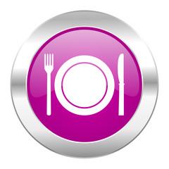 restaurant violet circle chrome web icon isolated
