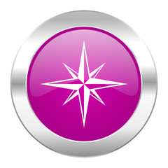 compass violet circle chrome web icon isolated