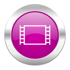 movie violet circle chrome web icon isolated