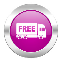 free delivery violet circle chrome web icon isolated