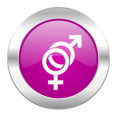 sex violet circle chrome web icon isolated